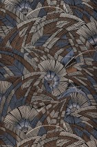 Wallpaper Siskara Matt Stylised leaves Stylised blossoms Black Pale brown Pearl beige Pigeon blue