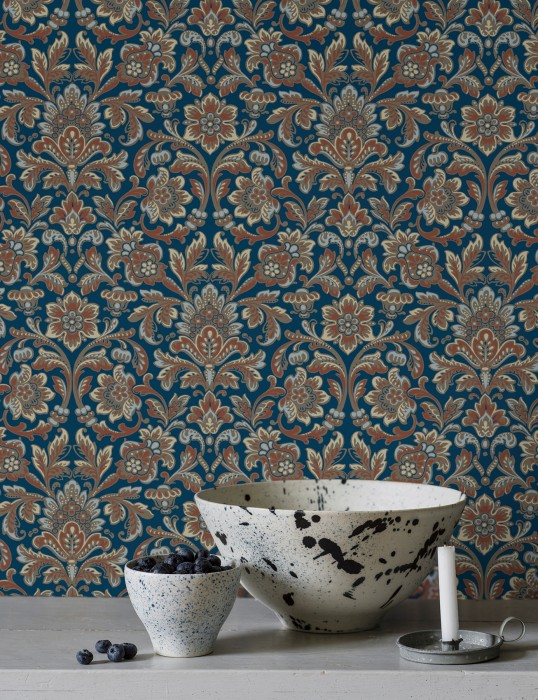 Papier peint Jelida Mat Damassé historique Bleu saphir Gris beige Blanc bleu Ivoire clair Brun cuivré