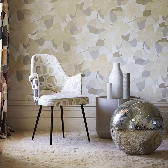 Floral Wallpaper Wallpaper Adarna light grey beige Room View