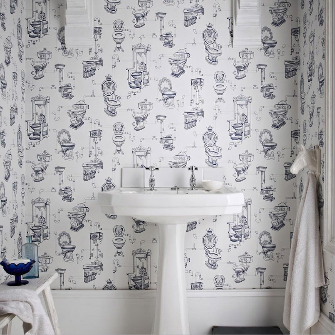 Toilet heaven white sapphire blue novelty wallpaper for Black and white bathroom paper