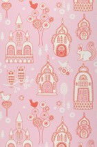 Wallpaper Slottsträdgarden Hand printed look Matt Trees Flowers Owls Castle Birds Pastel rose Red White