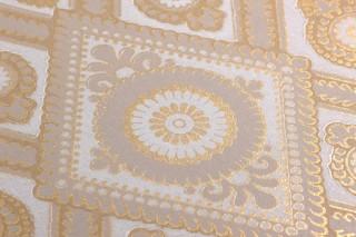 Papel pintado William Efecto impreso a mano Mate Damasco histórico Rombos Blanco grisáceo Amarillo curry Oro brillante Gris beige claro