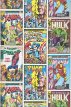 Wallpaper 1960s Marvel Heroes Matt Action Heroes Cream Beige Blue Yellow Green Red Violet
