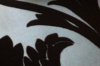 Papel de parede Sherlock Padrão mate Superficie base brilhante Damasco floral Turquesa pastel pérola lustre Bege pérola Castanho escuro