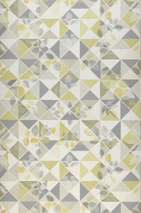 Wallpaper Waldivia Matt Leaves Geometrical elements Cream Grey Green beige Light ivory Lemon yellow