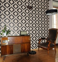 Wallpaper Triton Matt Retro ornaments Ivory Light ivory Black