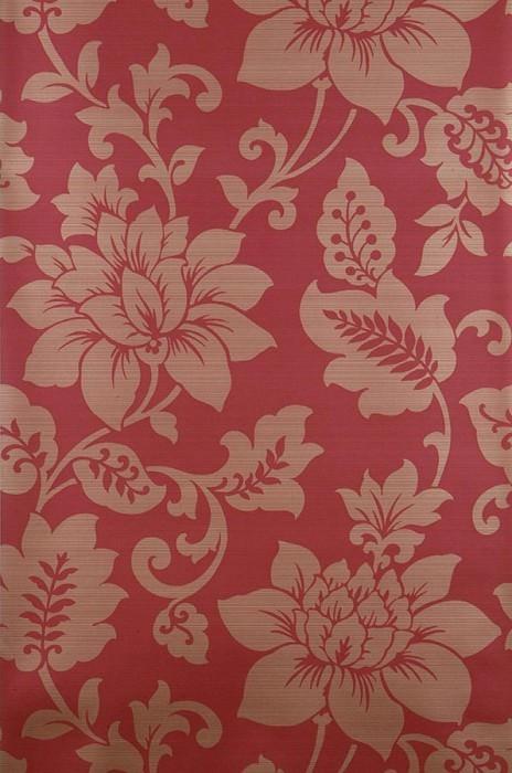 Wallpaper Rodasi Shimmering pattern Matt base surface Stylised flowers Ruby red Gold