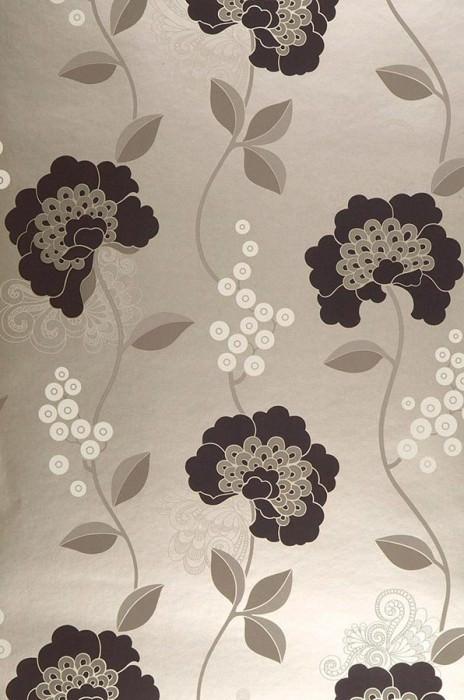 Papier peint Mimir Motif mat Surface chatoyante Fleurs Or blanc Anthracite Gris beige Blanc crème