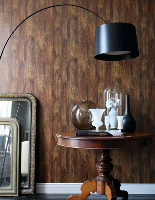 Archiv Wallpaper Arana brown tones Room View