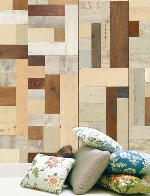 Papel pintado Scrapwood 06 marrón caoba Ver habitación