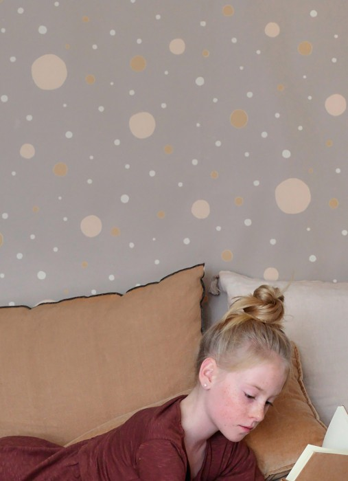 Wallpaper Confetti Hand printed look Matt Dots Grey beige Light ivory Ochre brown Pale pink