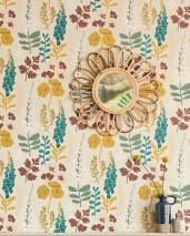 Wallpaper Luzie Matt Leaves Flowers Cream Blue Green Honey yellow Wine red White Pale pink