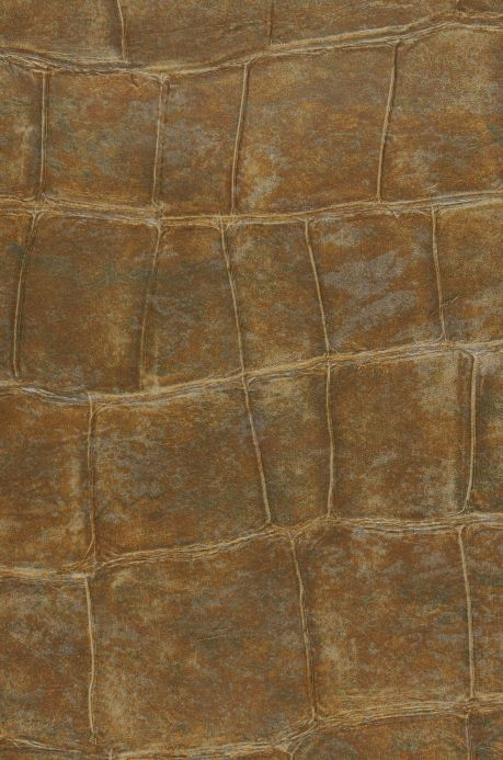 Faux Leather Wallpaper Wallpaper Croco 14 olive brown A4 Detail