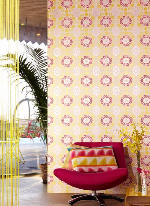 Archiv Wallpaper Rosane golden yellow Room View