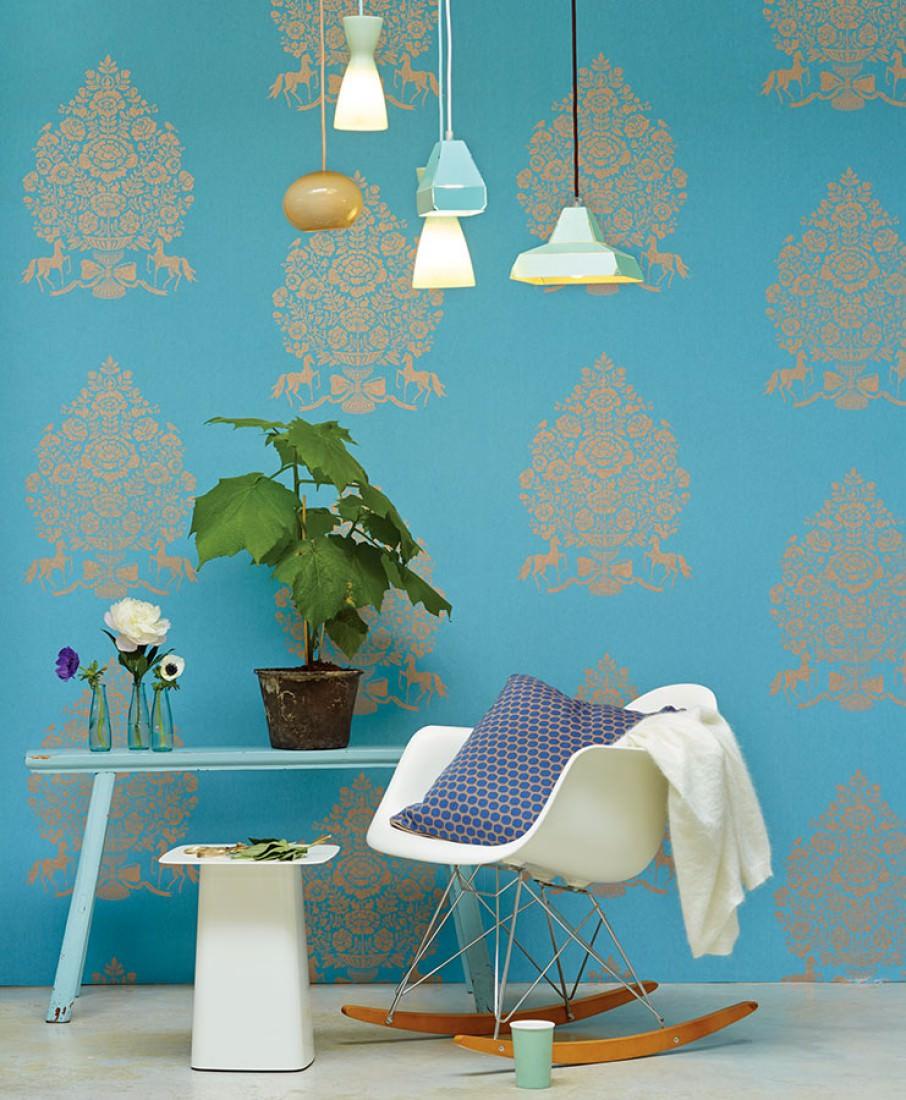 tapete sisan hellblau braunbeige tapeten der 70er. Black Bedroom Furniture Sets. Home Design Ideas