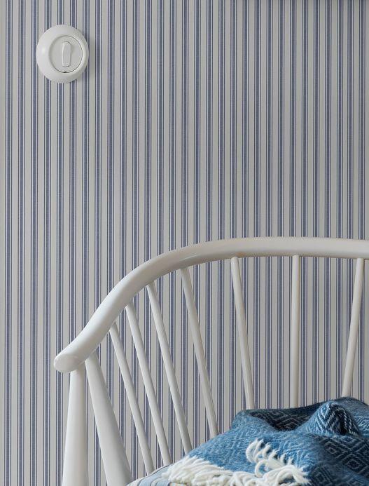 Papel pintado rayas Papel pintado Delane azul grisáceo Ver habitación