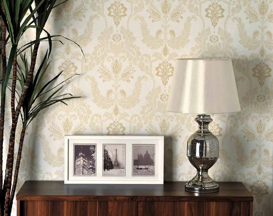 Wallpaper Livia Matt Baroque damask Cream Beige Pale beige