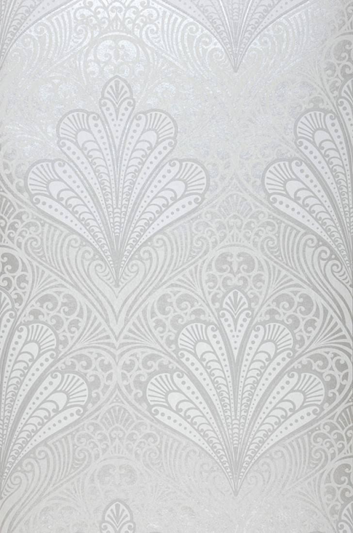 Papel pintado astoria plata mate gris plateado brillante - Papel pintado plateado ...