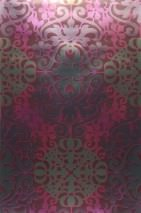 Wallpaper Lavina Shiny pattern Shimmering base surface Modern damask Wine red Heather violet Pearl gold Red violet Silver