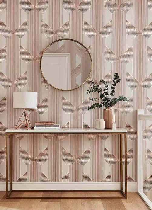 Geometric Wallpaper Wallpaper Nama cream Room View