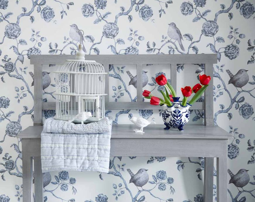 Archiv Wallpaper Cara pale grey blue Room View