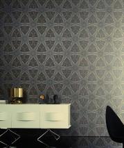 Wallpaper Silenus Matt Graphic elements Anthracite Gold shimmer Black Silver shimmer
