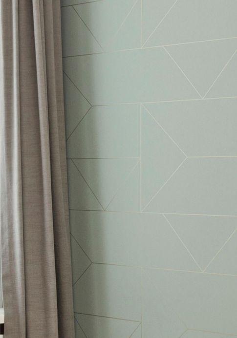 Geometric Wallpaper Wallpaper Lines pale pastel green Room View