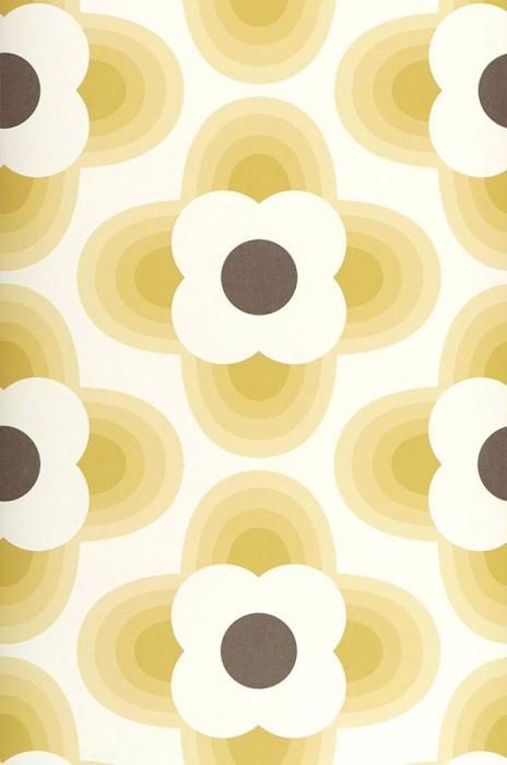 Wallpaper Selene Matt Stylised blossoms Cream Grey brown Green beige