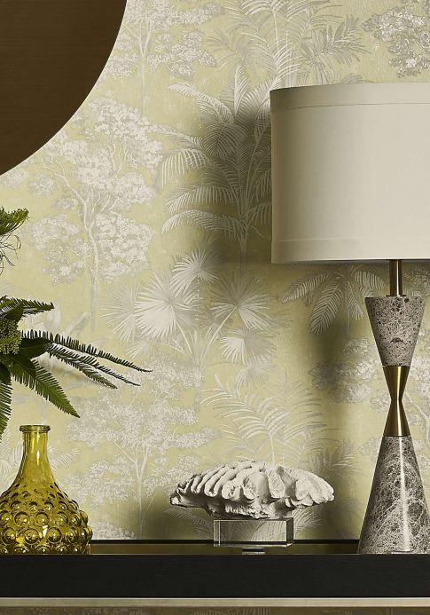 Papel pintado botánico Papel pintado Alenia beige verdoso brillante Ver habitación