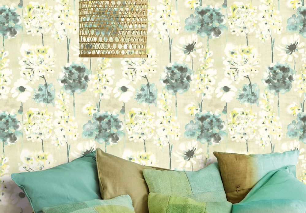 Floral Wallpaper Wallpaper Evote light green Room View