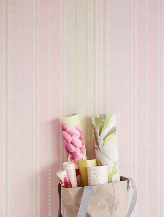 Wallpaper Kiwol Matt Stripes Cream shimmer Grey white Light pink