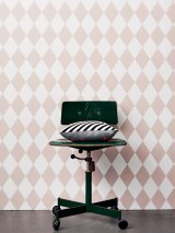 Wallpaper Harlequin Hand printed look Matt Rhombuses White Rosewood