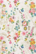 Wallpaper Megara Shimmering pattern Matt base surface Flowers Cream Blue Yellow Green Red