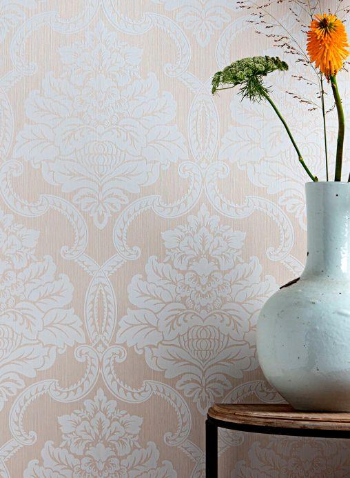 Papier peint textile Papier peint Amalia blanc crème Vue pièce