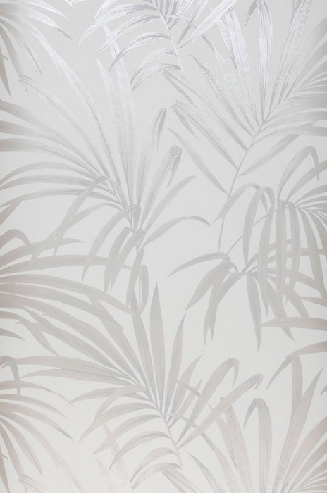 Wallpaper Almudena Shimmering pattern Matt base surface Palm fronds Cream Silver shimmer Silver grey