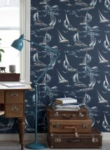 Wallpaper Neptunus Matt Sea gulls People Ships Waves Bojen Dark blue Blue grey Cream Grey white Light blue grey Copper brown