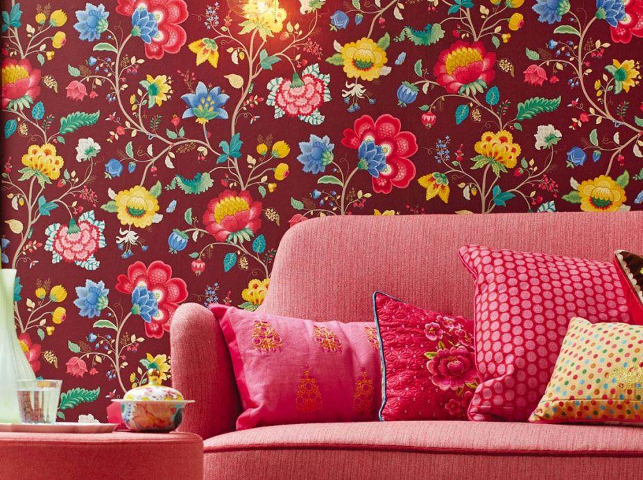 Papier peint floral Papier peint Belisama rouge vin Vue pièce