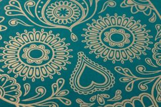 Tapete Dia de los Muertos Muster schimmernd Untergrund matt Florale Elemente Skulls Smaragdgrün Gold