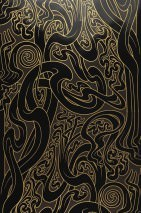 Wallpaper Flower of Love Shimmering Stylised climbing plants Mocha    Gold Black lacquer