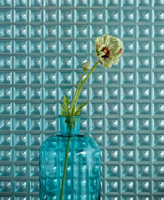 Wallpaper Gorgo Hologram effect Graphic elements Turquoise blue Turquoise lustre