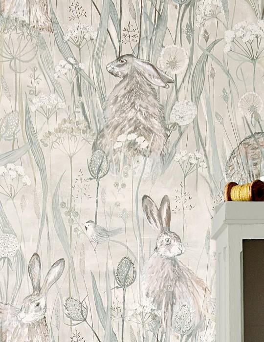 Papel de parede Anske Mate Coelhos Flores do campo Crema Marrom acinzentado pálido Cinza claro Turquesa pastel Branco