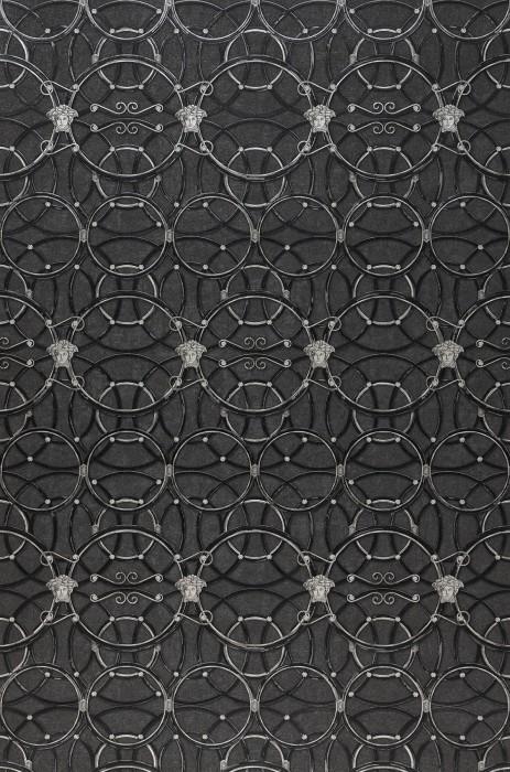 Wallpaper Nara Matt Circular pattern Medusa-Ornament Blüten Ornamente Dark grey Pearl dark grey Black White aluminium