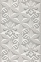 Carta da parati 3D-Flowers Opaco Elementi floreali Elementi grafici Bianco grigiastro Grigio platino Grigio pietra