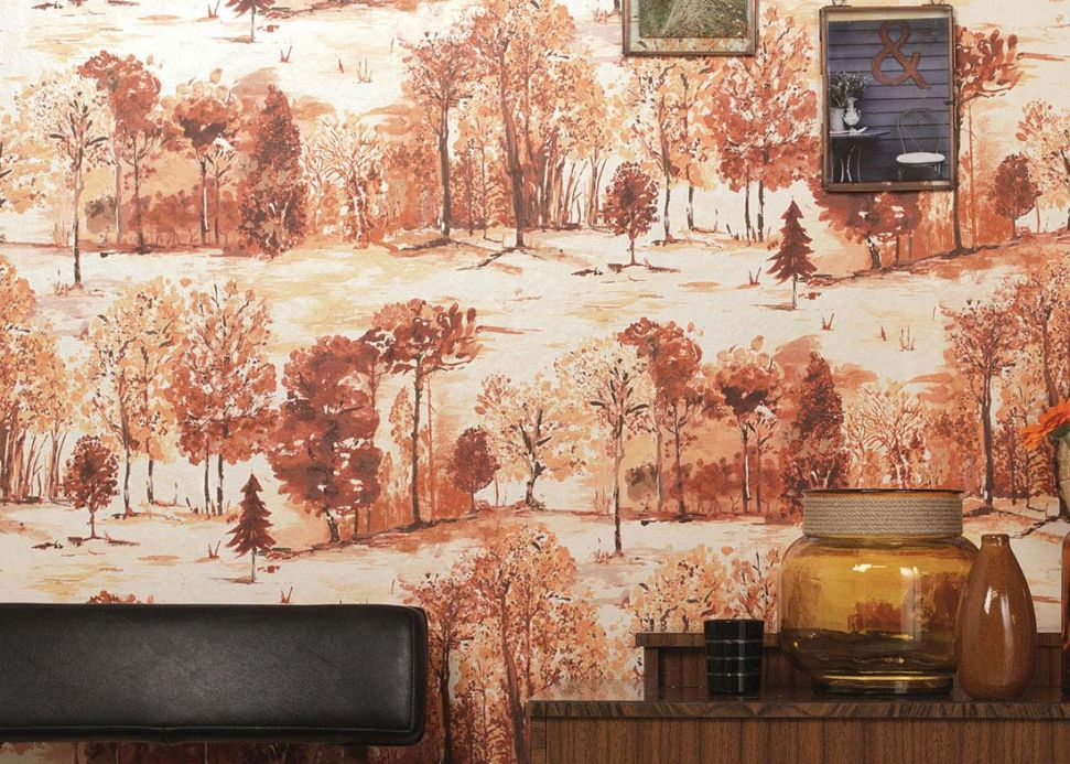 Archiv Wallpaper Heracid brown tones Room View