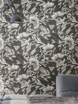 Wallpaper Siskara Matt Stylised leaves Stylised blossoms Black Dark grey Pearl light grey Umbra grey