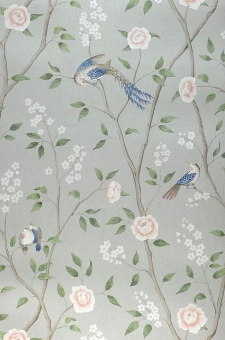 Wallpaper Leonidas Matt Birds Branches with leaves and blossoms Pastel green Beige red Brown grey Cream Green Green blue