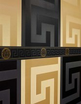 Wallpaper Solea Shimmering Looks like textile Geometrical elements Honey gold