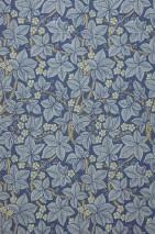 Wallpaper Tamara Matt Leaves Blossoms Fruits Blue Dark blue Green brown Light ivory Pastel blue