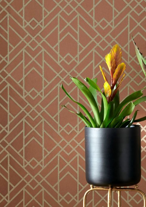 Art Deco Wallpaper Wallpaper Baya copper brown Room View