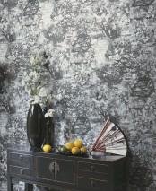 Wallpaper Kavakul Matt Trees Blossoms Buildings Black Black grey Silver shimmer